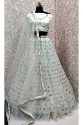 Baby Blue Color Net Lehenga Choli With Zari Embroidery Work