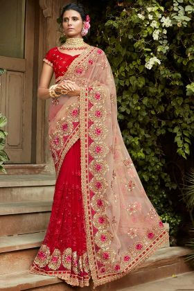 Baby Pink and Red Wedding Half N Half Saree