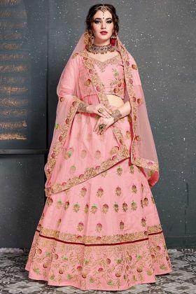Baby Pink Bridal Lehenga Choli In Dori And Zari Work