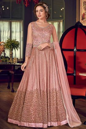 Baby Pink Color Gown Style Net Anarkali Dress