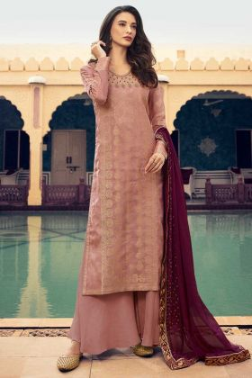 Baby Pink Color Jacquard Silk Palazzo Salwar Suit With Georgette Dupatta