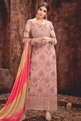 Baby Pink Georgette Pant Style Salwar Kameez