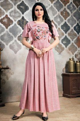 Baby Pink Khadi Slub Kurti Design
