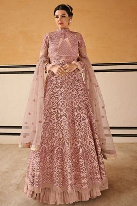 Baby Pink Net Gown Style Suit