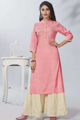 Baby Pink Pure Viscose Designer Kurti With Cotton Sharara
