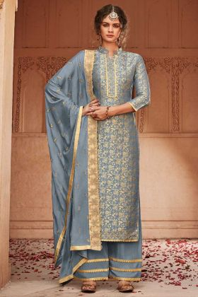 Banarasi Jacquard Silk Steel Blue Evening Wear Salwar Suit
