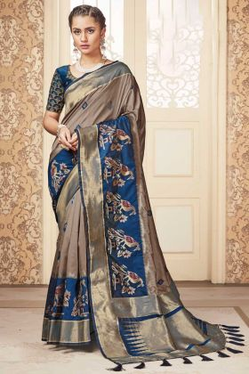 Banarasi Pure Silk Latest Beige Color Saree