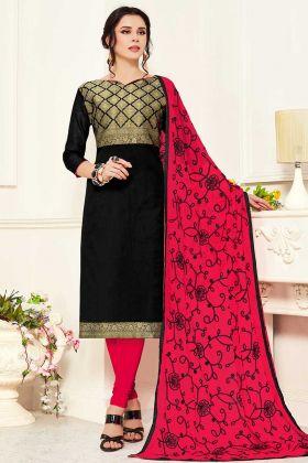 Banarasi Silk Casual Wear Churidar Black Salwar Suit
