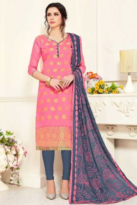 Banarasi Silk Pink Color Churidar Dress