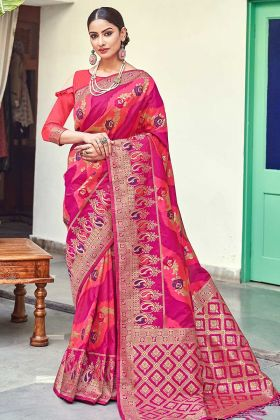 Banarasi Silk Pink Woven Saree With Blouse