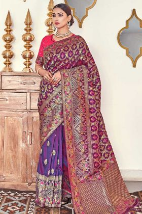 Banarasi Silk Purple Woven Saree With Blouse