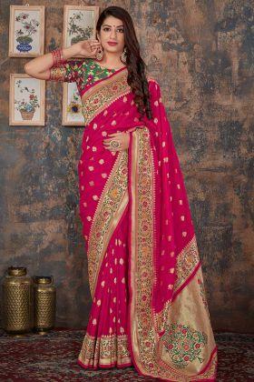 Banarasi Silk Rani Pink Kanjivaram Saree