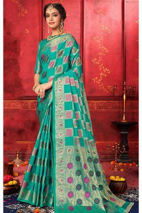 Banarasi Silk Sea Blue Banarasi Sarees Online With Blouse