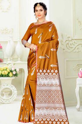 Banarasi Art Musturd Yellow Saree With Weaving Work Blouse Piece