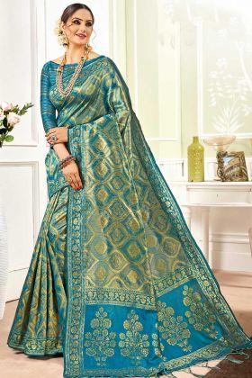 Banarasi Art Silk Banarasi Saree Blue Color Weaving Design
