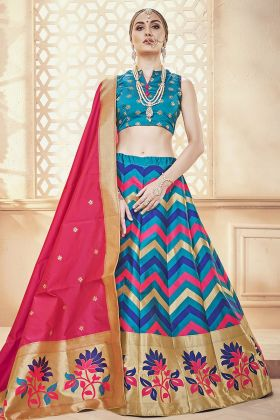 Banarasi Art Silk Blue Lehenga Choli