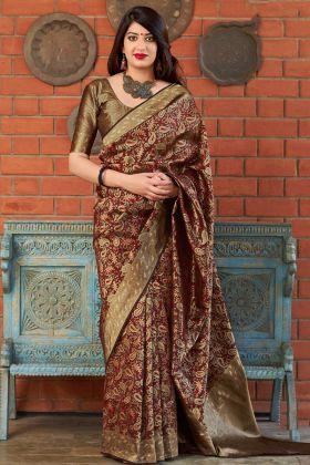 Banarasi Art Silk Designer Saree In Maroon Color