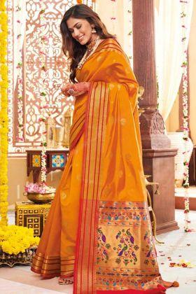 Banarasi Art Silk Designer Saree Mustard Yellow Color