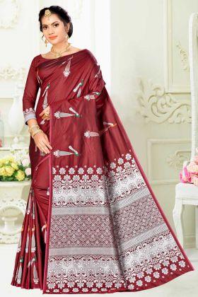 Banarasi Art Silk Designer Wedding Saree In Maroon Color