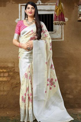 Banarasi Art Silk Festival Saree Weaving Work In Off White Color