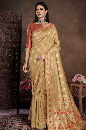 Banarasi Art Silk Gold Wedding Saree