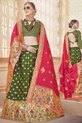 Banarasi Art Silk Green Lehenga Choli