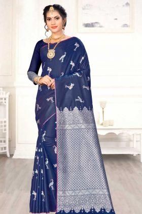 Banarasi Art Silk Indian Wedding Saree Weaving Work In Navy Blue Color