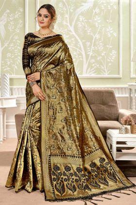 Banarasi Art Silk Marathi Paithani Saree Black Color