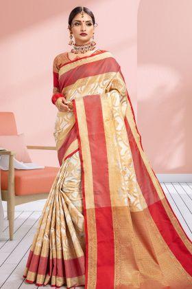 Banarasi Art Silk Off-White Saree