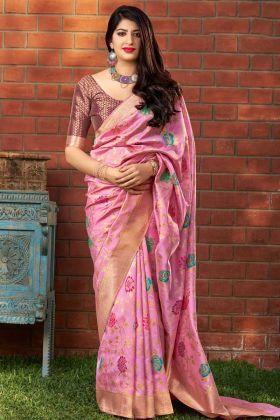 Banarasi Art Silk Party Wear Saree Weaving Work In Pink Color