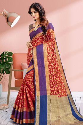 Banarasi Art Silk Red Festive Saree