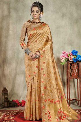 Banarasi Art Silk Traditional Saree Gold Color In Jacquard Work