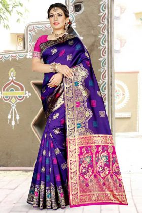 Banarasi Art Silk Traditional Saree Violet With Weaving Work