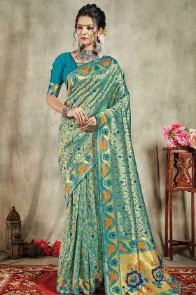 Banarasi Art Silk Weaving Saree With Blouse Sea Green Color