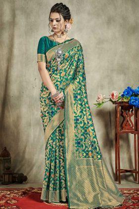 Banarasi Art Silk Wedding Saree Green Color With Jacquard Work