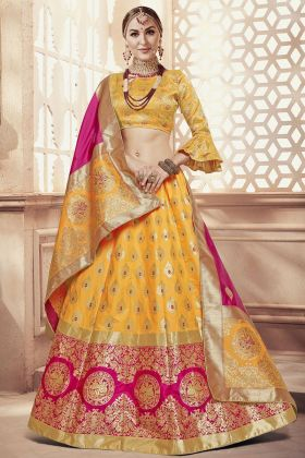Banarasi Art Silk Yellow Lehenga Choli