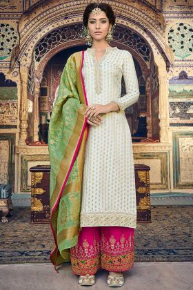 Banarasi Jacquard Palazzo Dress Weaving Work In Off White Color