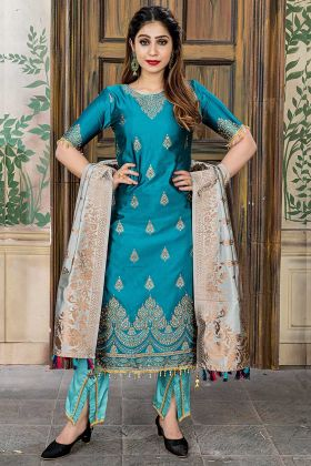 Banarasi Jacquard Pant Style Salwar Suit Embroidery Work In Morpich Color