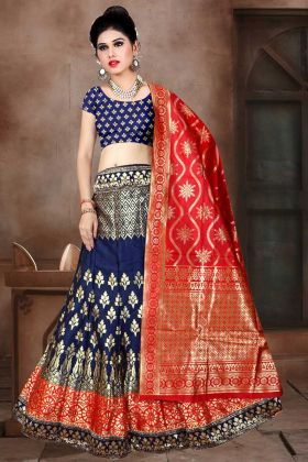 Banarasi Jacquard Silk A-Line Lehenga Choli In Navy Blue Color