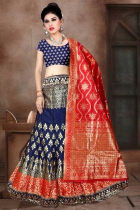 Banarasi Jacquard Silk A-Line Lehenga Choli In Navy Blue Color