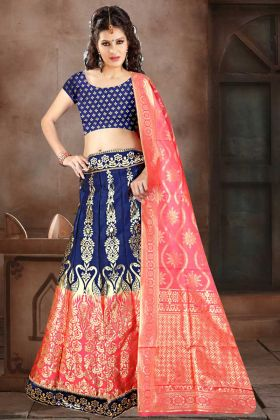Banarasi Jacquard Silk Designer Lehenga Choli In Navy Blue Color