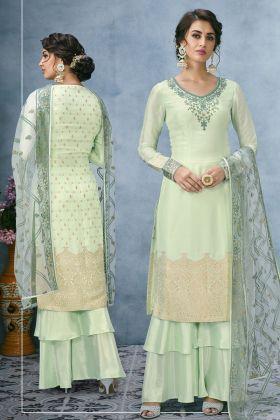Banarasi Jacquard Silk Green Palazzo Suit