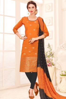 Banarasi Jacquard Silk Orange Salwar Suit