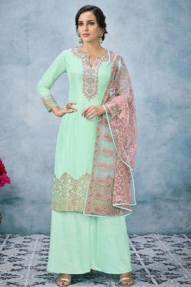 Banarasi Jacquard Silk Palazzo Suit