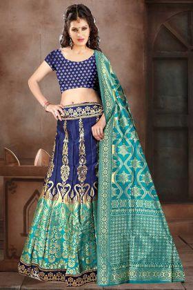 Banarasi Jacquard Silk Party Wear Lehenga Choli In Navy Blue Color