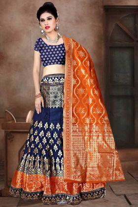 Banarasi Jacquard Silk Reception Lehenga Choli Navy Blue Color