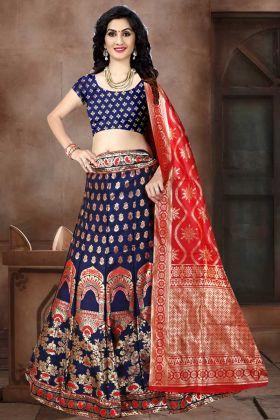 Banarasi Jacquard Silk Wedding Lehenga Choli In Navy Blue Color