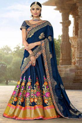 Banarasi Jacquard Wedding Lehenga Choli Embroidery Work In Blue Color
