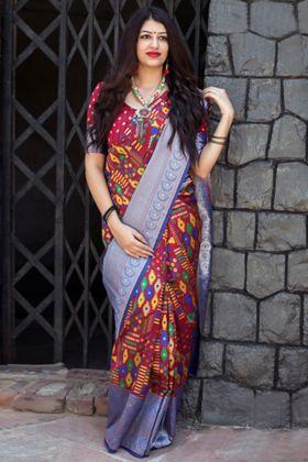 Banarasi Patola Silk Indian Wedding  Red Color In Weaving Work