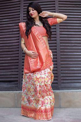 Banarasi Patola Silk Orange Color Wedding Saree With Weaving Work